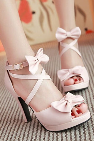 Fashion Bowknot Solid Color Heels Sandals Shoes