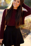 Fashion Round Neck Long Sleeve Knit Sweater Skirt