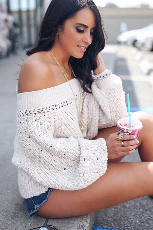 Strapless Long Sleeves Knit Fashion Top Sweater Pullover