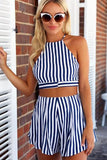 Sexy Fashion Stripe Print Halter Vest Shorts Set Two-Piece