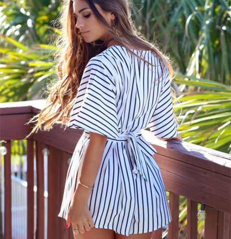 V-Neck Stripe Hollow Strappy Romper Jumpsuit