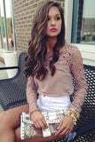 Fashion Embroidery lace long-sleeved shirt