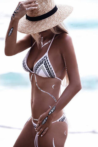 Halter Stripe Beach Bikini Swimsuit Swimwear
