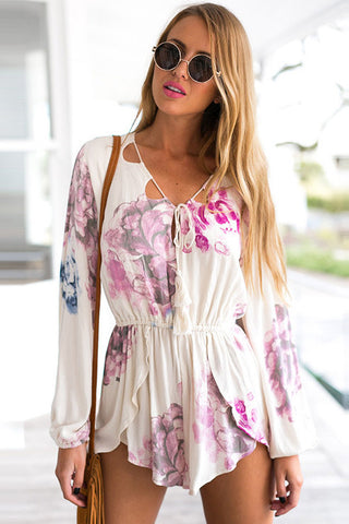 Print Sexy V-Neck Strappy Romper Jumpsuit