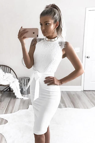 Fashion Bodycon Sleeveless Lace Mini Dress