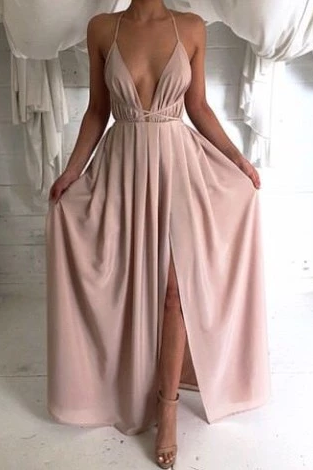 Sexy Deep V Halter Solid Color Dress