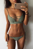 Sexy Hollow Solid Color Strap Strappy Bikini Set Swimsuit Swimwear