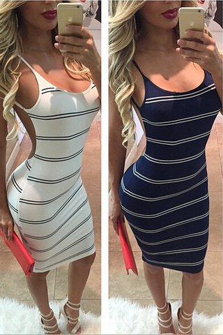 Stripe Backless Sexy Tight Dress
