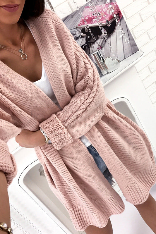 Knit Loose Long Sleeves Sweater Cardigan Jacket Coat