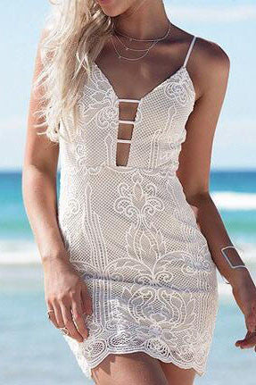 V-Neck Embroidery Lace Sling Dress