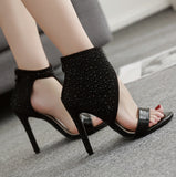 Zipper Rhinestone Women Fashion Peep Toe High Heels Shoes