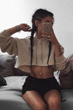 Sexy Fashion Crop Top Drawstring Long Sleeve Hoodie Shirt Top Tee