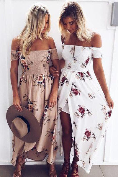 Sexy Fashion Floral Print Strapless Split Maxi Dress