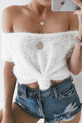 Strapless Fashion Knit Top Sweater Pullover