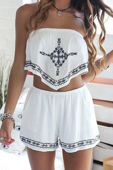 Fashion Strapless Print Two-Piece