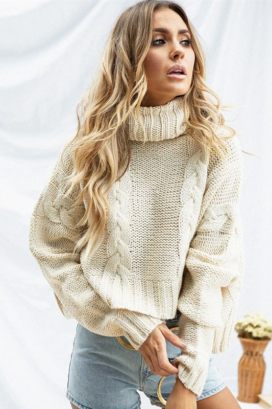 Fashion Knit Hollow High Collar Top Sweater Pullover