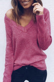 V-Neck Long Sleeves Knit Fashion Top Sweater Pullover