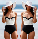 Lace High Waist Halter One Piece Swimsuit Swimwear