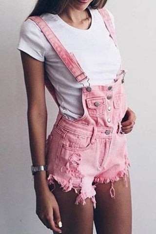 Fashion Ripped Strap Jumpsuit Denim Shorts