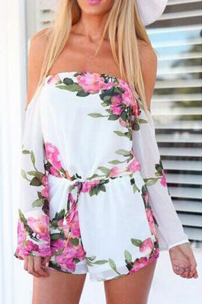 Printed strapless jumpsuit rompers