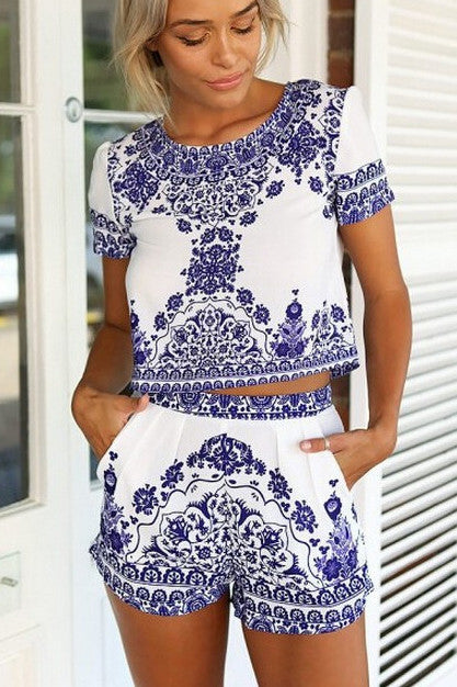 Fashion vintage printing two-piece