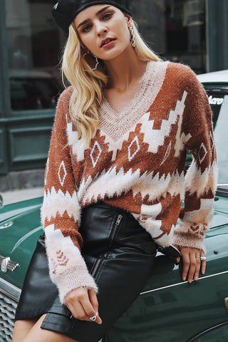 V-Neck Print Knit Fashion Top Sweater Pullover