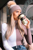 Knit Stripe Tight Long Sleeves Fashion Top Sweater Pullover