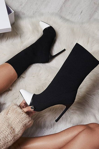Pointed Toe Elastic Cloth Fashion High Heels Boots Shoes