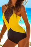 Backless Gauze Splicing One Piece Swimsuit Swimwear
