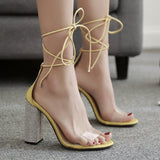 Strappy Transparent Women Fashion Peep Toe Sandals High Heels Shoes