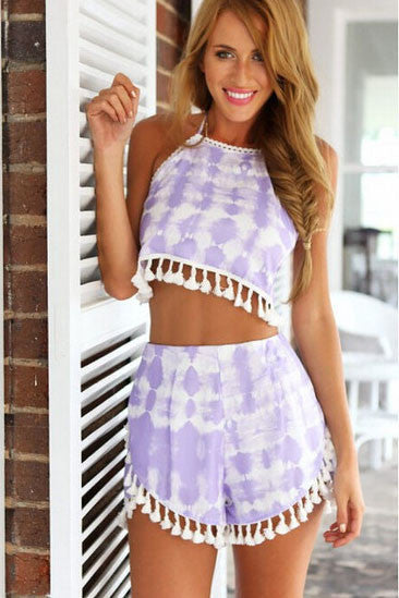 Fashion  wool ball printing two-piece