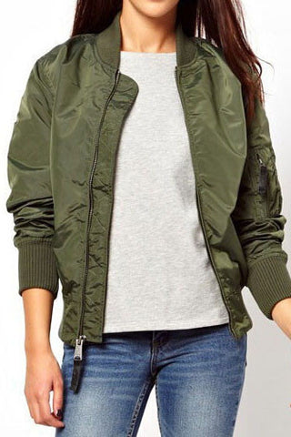 Solid Color Zipper Cardigan Jacket Coat