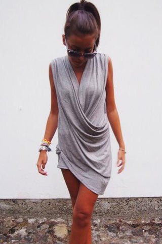 Irregular V-neck solid color Dress