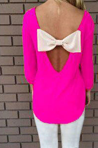 Solid color Backless bowknot blouse