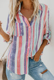 Stripe Buckle Lapel Fashion Shirt Top Tee