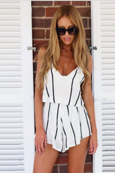 Sexy deep V striped rompers jumpsuit