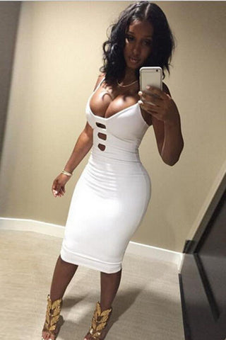 Deep V Bodycon Hollow Out Dress