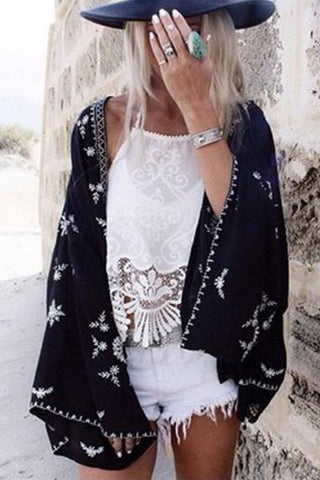 Fashion Print Beach Cardigan Jacket Coat