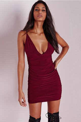 Sexy Strap V-Neck Bodycon Dress