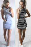 Sexy Fashion Stripe Print Hooded Short Sleeve Bodycon Mini Dress