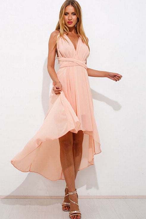 Irregular V-Neck Halter Dress