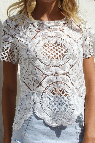 Hollow out lace short-sleeved shirt blouse