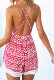 Printing V-neck backless dress