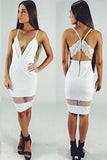 V-Neck Mesh Bodycon Dress