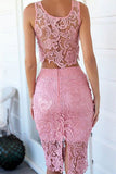 Sexy lace sleeveless two-piece dress