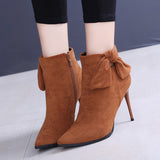 Retro Solid Color Bowknot Boots Shoes