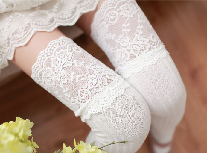 Lace Mesh Solid Color Socks Stockings