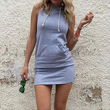 Fashion Solid Color Hooded Bodycon Dress