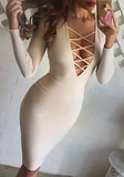 Bodycon Sexy Deep V Long Sleeve Dress