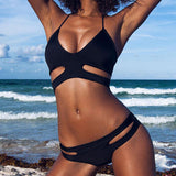 Hollow Out Halter Beach Bikini Swimsuit Swimwear